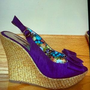 Charlotte Russe Purple Bow Wedges.